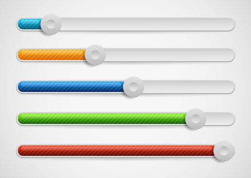 Horizontal adjusters, sliders. Modern UI elements