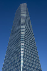 Low angle view of financial building, Madrid, Spain, Europe