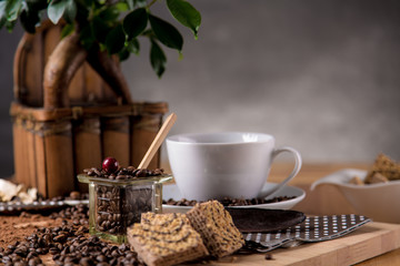 Natural traditional coffee on wooden table