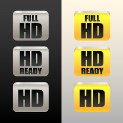 HD - High definition - tags, labels or icons, buttons. Hd, Full