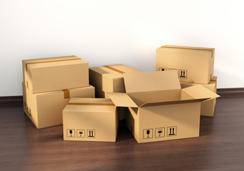 Cardboard boxes on wooden floor