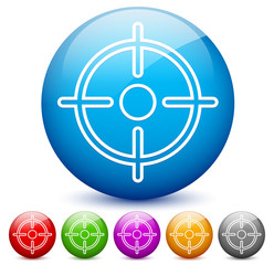 Modern, glossy target or crosshair icons in 6 colors