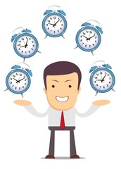 Businessman juggling with alarm clocks, symbolizing time