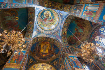 Interior of the Church of the Savior on Spilled Blood in Petersb