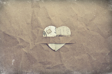 heart on crumpled paper