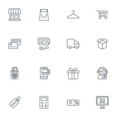 Set of Thin Line Business and Shopping Icons