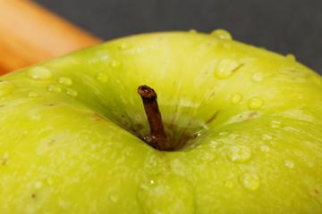 Closeup small green apple