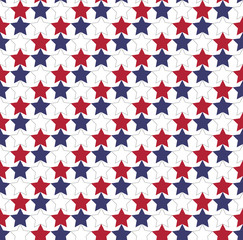 Seamless star pattern in official colors of USA flag