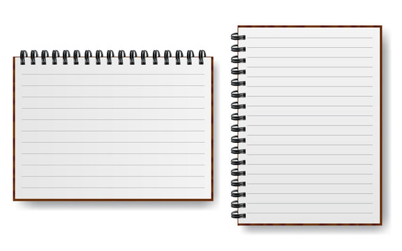 Notebook with spiral line realistic paper vector illustration