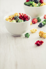 Colorful, sweet popcorn