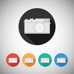 Film camera icon on round background