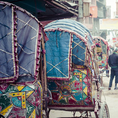 colorful nepalese rickshaw in the streets of kathmandu