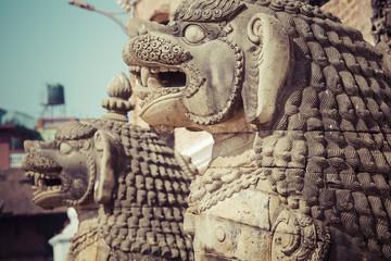 Temples of Durbar Square in Bhaktapur, Kathmandu, Nepal.