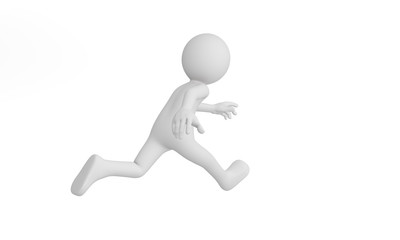 3d man run, Isolated on white background