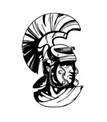 Vector black gladiator head illustration