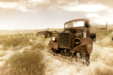 Old rusty car by historic Route 66