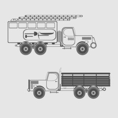 monochrome icon set with special purpose vehicle