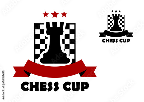 Chess cup logo or emblem template\