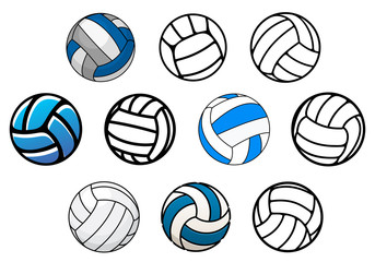 Volleyball balls in outline and cartoon style