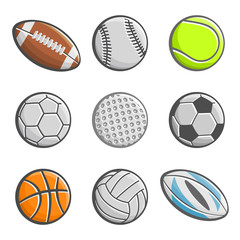 A set of images of sports balls