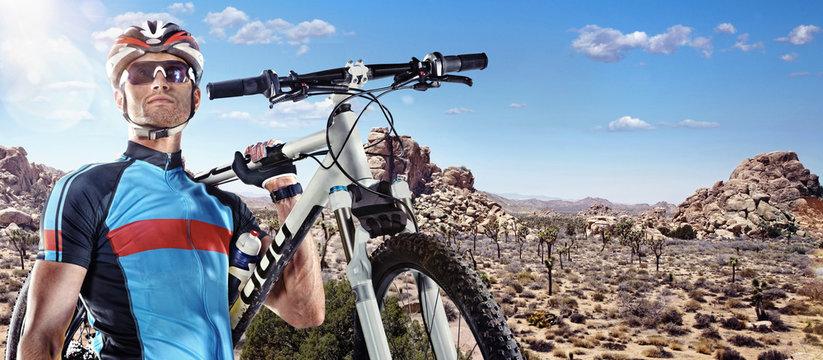 Sport. Cyclist carry a bike on sunny sky