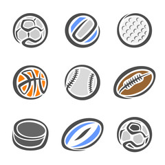Images of sports equipment for different sports