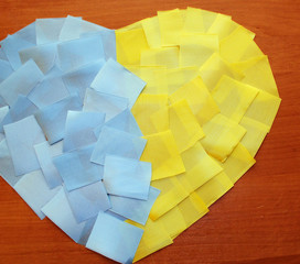 ukraine flag heart of the pieces of tape
