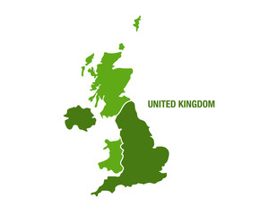 United Kingdom map in green color