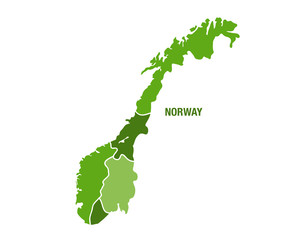 Norge map in green color