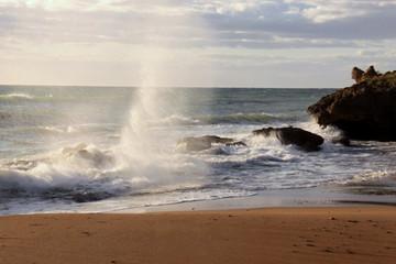 spray seawater on the coast, Italy