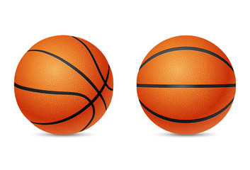 Basketball, front and half-turn view, isolated on white