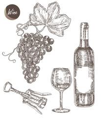 Wine set hand drawn. A bottle of wine, a glass, a corkscrew