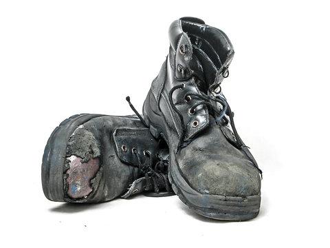 Worn safety boots