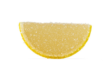 Slice Of Yellow Marmalade On A White Background.