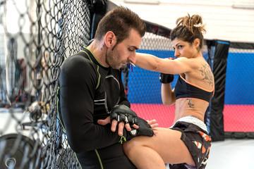 Martial arts athletes fighting