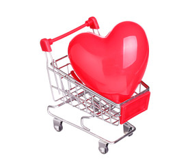heart in shopping cart concept isolated on white background