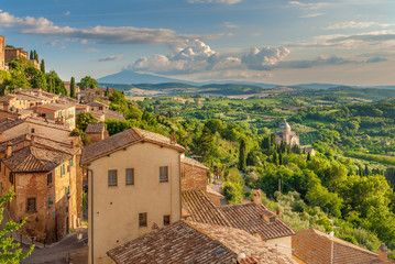 Foto op Canvas Toscane Landscape of the Tuscany seen from the walls of Montepulciano, I