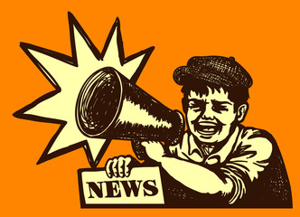 Retro newspaper vendor kid screaming news with megaphone