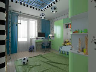 3D Visualization of a child's room a young football player
