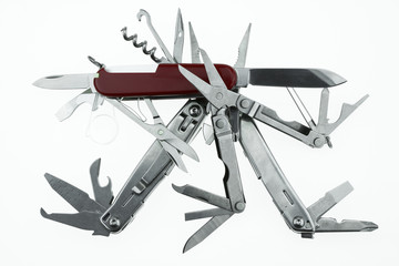 Pocket knife or Steel multi-function tools isolated on white Wall mural