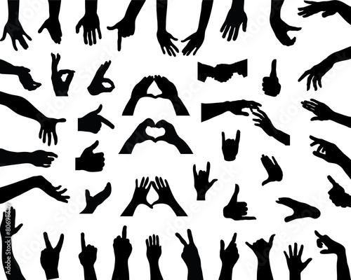 Silhouettes Of Hands Vector Stock Image And Royalty