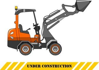 Skid steer loader. Heavy construction machine. Vector