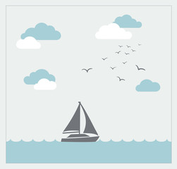 Vector card with sailboat and clouds