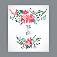 greeting card with watercolor flowers - 4
