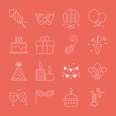 Birthday line icon set