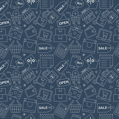 Shopping line icon pattern set