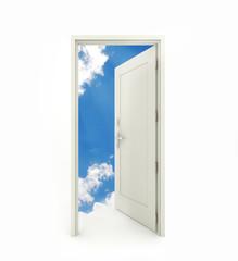 3D rendering freestanding open door isolated on white background