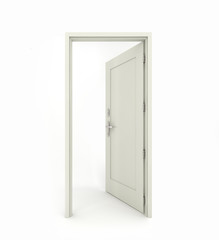 3D rendering freestanding open door isolated on white background