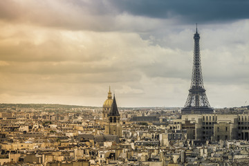 Panorama of Paris with Eiffel Tower ,France