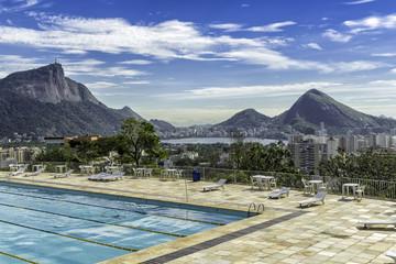 Panorama of Rio de Janeiro from the pool, Brazil